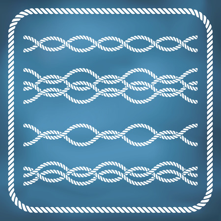 nautical equipment: Decorative seamless nautical rope borders