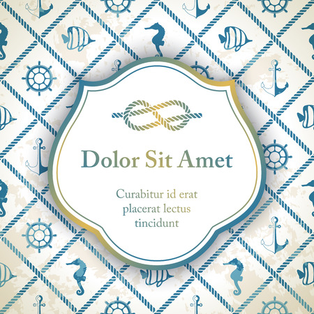rope border: Invitation card with rope decor - nautical pattern in blue color