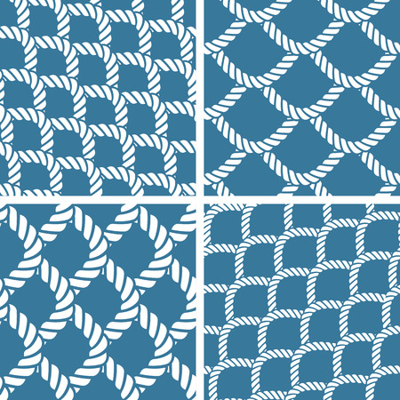 rope border: Seamless nautical rope knot pattern, fishing net Illustration