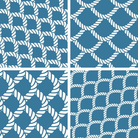 nautical rope: Seamless nautical rope knot pattern, fishing net Illustration