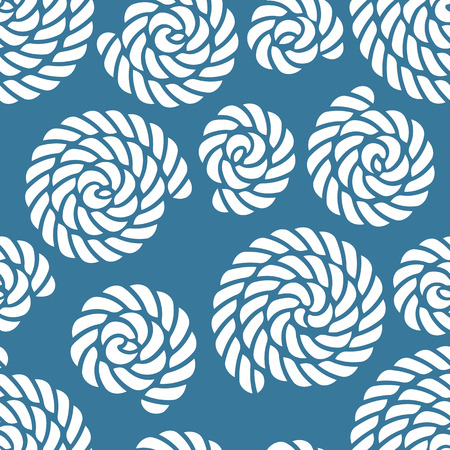 rope border: Seamless navy blue nautical rope knot pattern