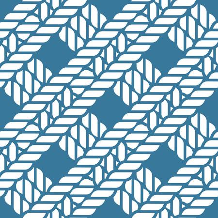 spiral cord: Seamless navy blue nautical rope knot pattern, fishing net, lattice