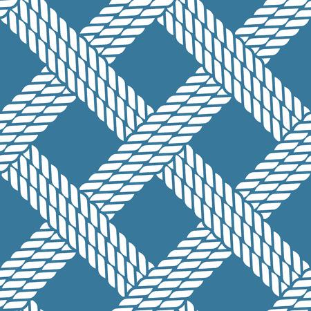 woven: Seamless navy blue nautical rope knot pattern, fishing net, lattice