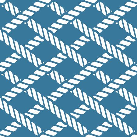 Seamless navy blue nautical rope knot pattern, fishing net, lattice