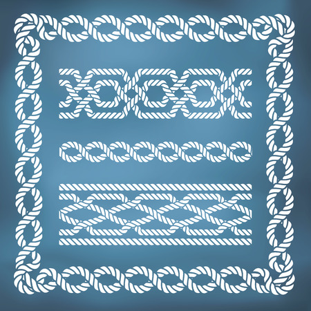 sailing: Decorative seamless nautical rope borders and frames Illustration