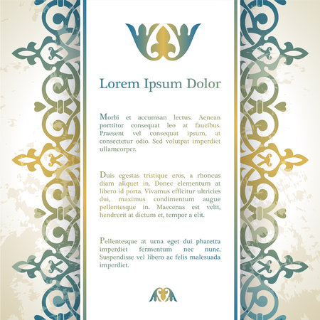 Invitation card with arabesque decor - ottoman floral pattern in gold blue color