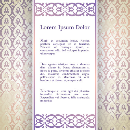 moresque: Invitation card with arabesque decor - ottoman floral pattern in purple and beige color