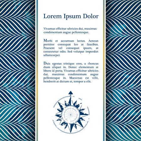 Carte d'invitation avec nautique décor de corde - motif de corde dans la couleur bleue