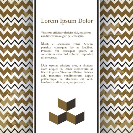 flayer: Background  with chevron pattend on background and 3d illusion. Place for text. Use it for invitation, flayer or banner.