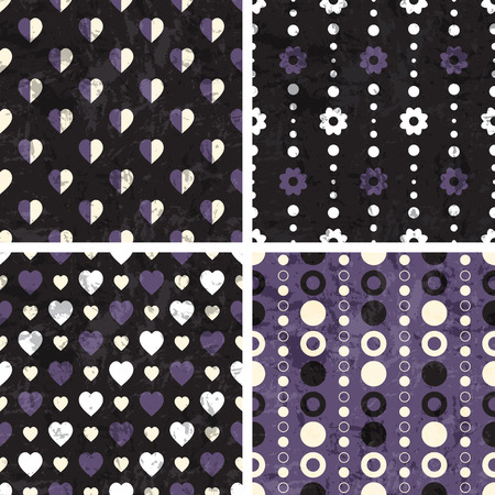 purple wallpaper: Vector seamless poka dot and heart tiling patterns. For printing on fabric, scrapbooking, gift wrap.