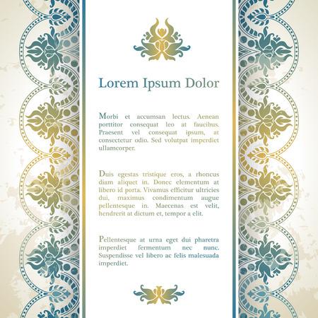 casamento: Cartão do convite com decoração arabesco - padrão floral otomano na cor azul ouro Ilustração
