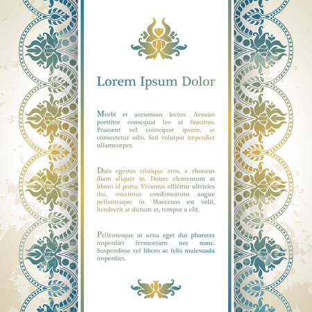 marriage: Invitation card with arabesque decor - ottoman floral pattern in gold blue color