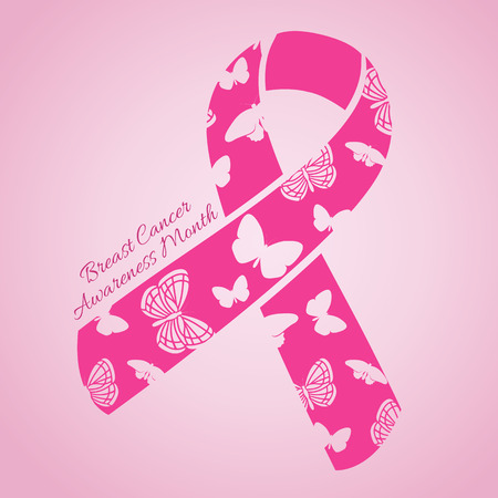 cancer ribbon: Breast Cancer Awareness month banner with pink ribbon Illustration