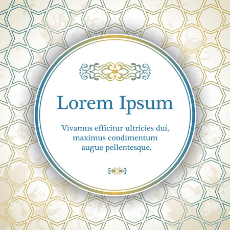artistic background: Invitation card with arabesque decor - geometric pattern in gold and blue color