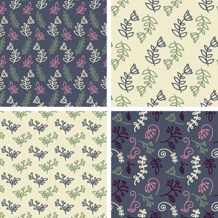 tiling: Vector seamless tiling patterns - sketch flowers. For printing on fabric, scrapbooking, gift wrap. Illustration