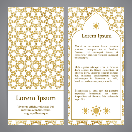 gold color: Flayers with arabesque decor - girihl pattern in gold color