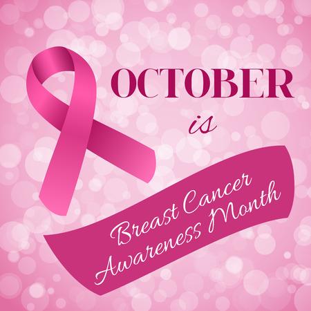 ピンクのリボンと胸癌意識月バナー