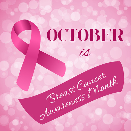 Breast Cancer Awareness month banner with pink ribbon Çizim