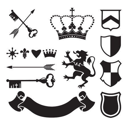 medieval: Heraldic silhouettes for signs and symbols (safety, security, military, medieval). Based on and inspired by old heraldry.