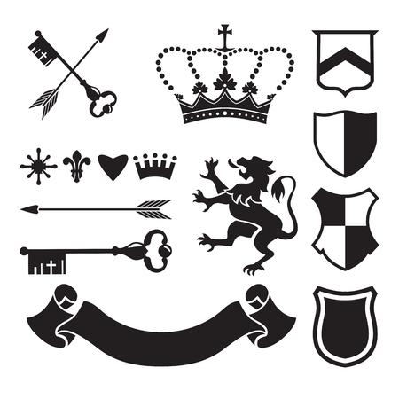medievales: siluetas her�ldicos en busca de signos y s�mbolos (la seguridad, la seguridad, militares, medievales). Sobre la base de e inspirado por la her�ldica de edad. Vectores