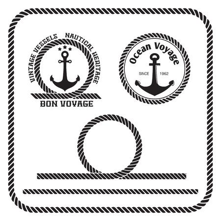 ancla: Insignias de vela con ancla y frontera de la cuerda, lazo