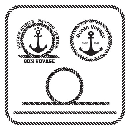 rope border: Sailing badges with anchor and rope border, loop