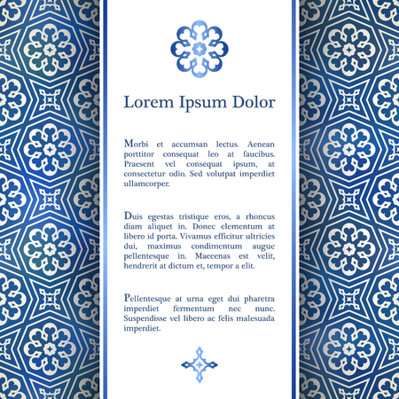 vintage backgrounds: Invitation card with arabesque decor - geometric girih pattern