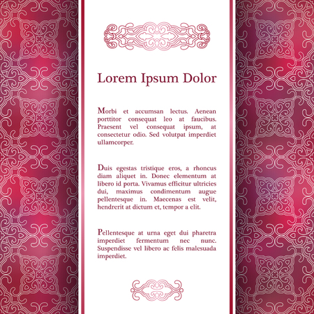 vintage invitation: Invitation card with arabesque decor - ottoman floral patter