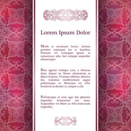 Invitation card with arabesque decor - ottoman floral patter