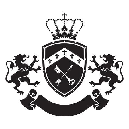 LEONES: Escudo de armas - escudo con la corona, clave y la flecha, dos leones de pie a los lados. Sobre la base de e inspirado por la heráldica de edad.