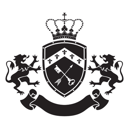 Coat of arms - shield with crown, key and arrow, two standing lions at sides. Based on and inspired by old heraldry.