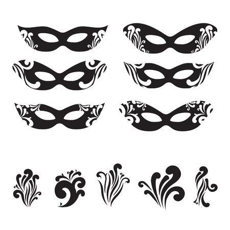 harlequin clown in disguise: Six Masquerade mask silhouettes with decorative elements