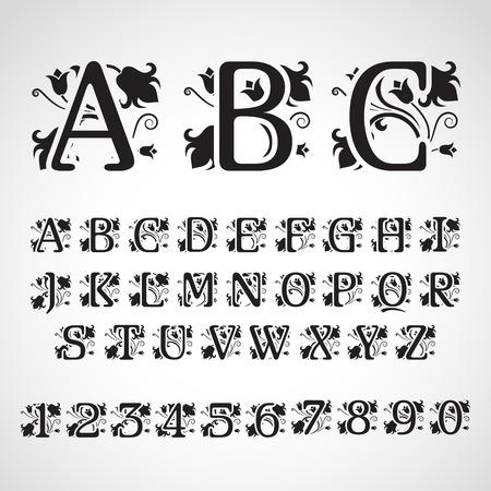 Conjunto de cartas iniciales del estilo de la vendimia. Para la invitación, flayer, cubierta, tarjetas de felicitación, monograma