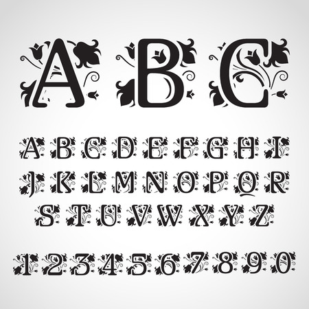 initial cap: Set of vintage style initial letters. For invitation, flayer, cover, greeting card, monogram
