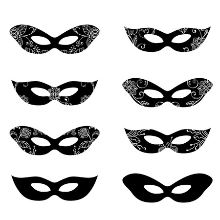harlequin clown in disguise: Masquerade mask silhouettes with decorative elements Illustration