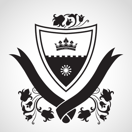 stronghold: Coat of arms - shield with crown, stronghold wall, flowers at sides. Based on and inspired by old heraldry.