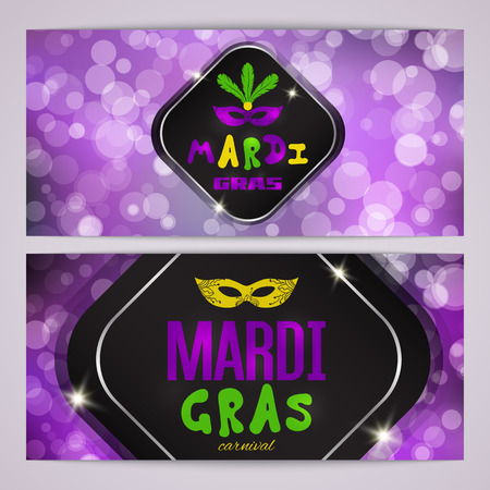 harlequin clown in disguise: Mardi Gras carnival banners with masquerade mask silhouette Illustration