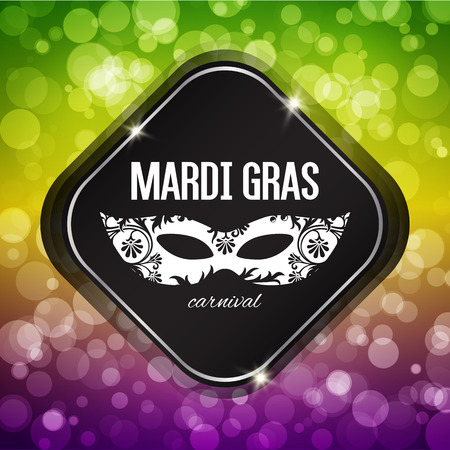 gras: Mardi Gras carnival background with masquerade mask silhouette