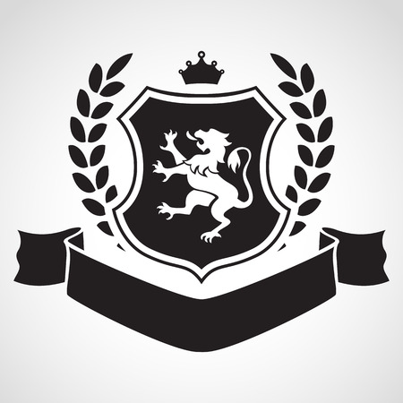 shield set: Coat of arms - shield with lion, laurel, crown at the top and ribbon. Based on and inspired by old heraldry. Illustration