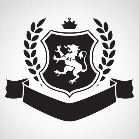 Wapen - schild met leeuw, laurier, kroon op de top en lint. Gebaseerd op en geïnspireerd door oude heraldiek.