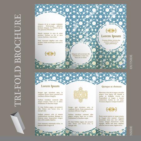 arabesque pattern: Tri-fold brochure template with ottoman arabesque pattern