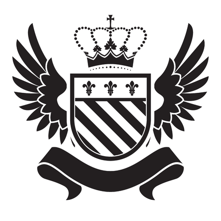 sides: Coat of arms - shield with crown, fleur-de-lis, two wings at the sides. Based on and inspired by old heraldry.
