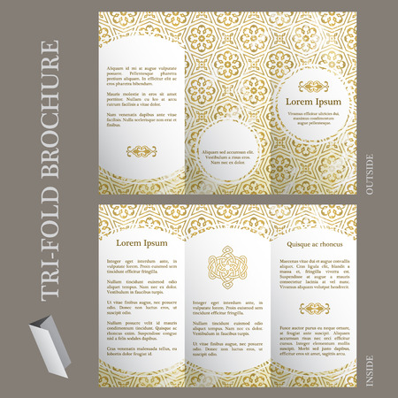 ottoman: Tri-fold brochure template with ottoman arabesque pattern