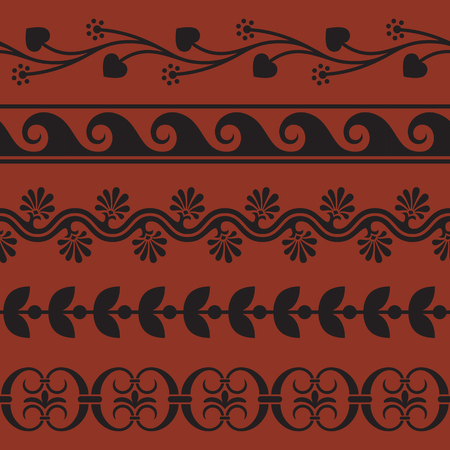antiquities: Set of seamless borders inspired by antique greek ornaments.