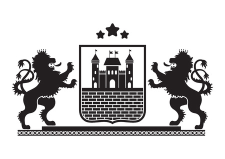 plinth: Coat of arms - shield with fortress, brick wall and two standing lions at sides on plinth. Based on and inspired by old heraldry.