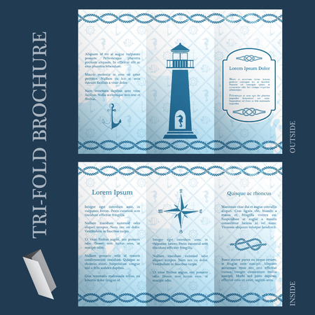 Tri-fold brochure template with nautical pattern