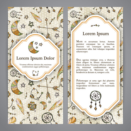 flayers: Boho flayers with hand drawn elements - moon, dreamcatcher and feathers