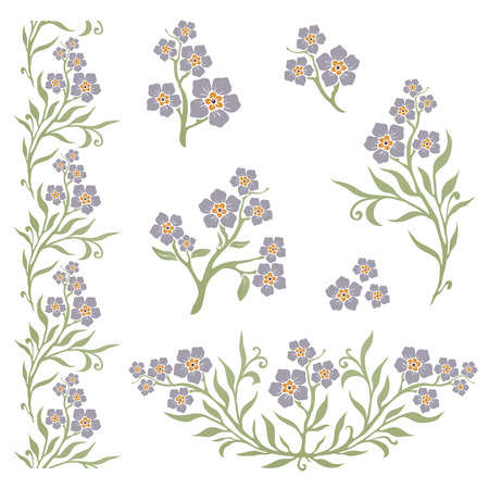 Forget-me-not (Myosotis) grafiche floreali sagome Vettoriali