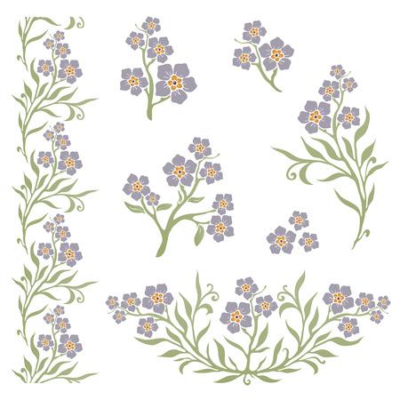 Forget-me-not (myosotis) graphic flower silhouettes Vector Illustration