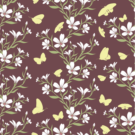cerastium tomentosum: Vector seamless tiling pattern - romantic flowers. For printing on fabric, scrapbooking, gift wrap.